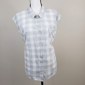 Merona Sleeveless Plaid Button Up Shirt Gray White